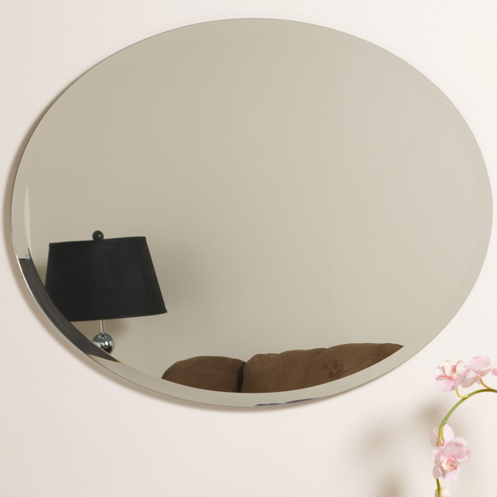 Beveled Oval Frameless Mirror In Oval Mirrors